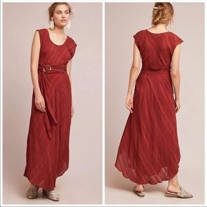 🆕NWT 70s style belted maxi dress w/ ribbed detail